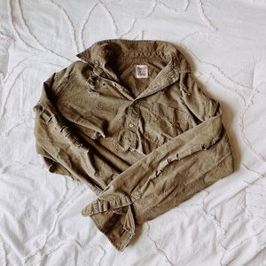LF Furst of A Kind army green cropped shirt